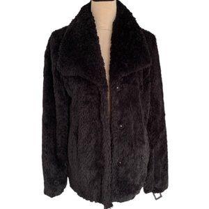 KENNETH COLE NEW YORK Notch Collar Black Faux Fur